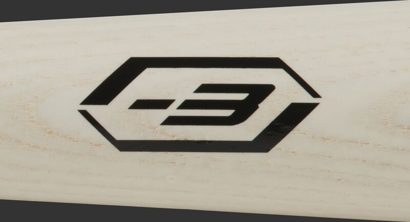 A black -3 stamp on a white-wash barrel of a Player Preferred wood bat - SKU: 271RAB