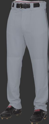 Front of Rawlings Blue Gray/Black Youth Semi-Relaxed Piped Pant - SKU #YPRO150P-BG/DG-90