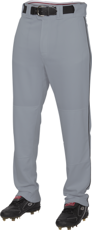 Front of Rawlings Blue Gray/Black Adult Semi-Relaxed Piped Pant - SKU #PRO150P-BG/DG-90
