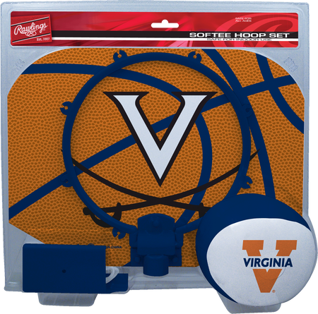 A NCAA Virginia Cavaliers hoop set with a blue/white ball and team logo printed on the backboard