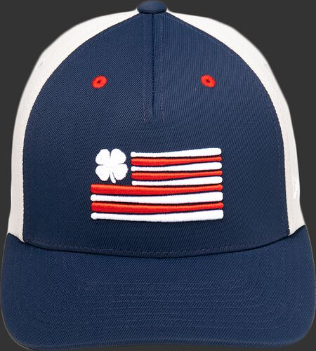 Blue front of a Rawlings Black Clover RBC Clover Nation fitted hat with an American flag logo - SKU: BCR1RCN0071