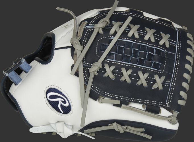 Thumb of white RLA125-18N Liberty Advanced Color Series 12.5-inch fastpitch glove with a navy Double Laced Basket web
