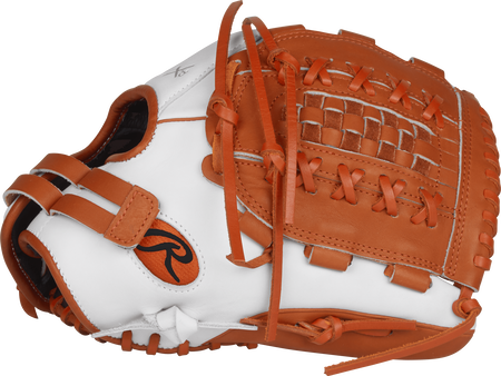 RLA125-18WO Liberty Advanced Color Series 12.5-inch fastpitch glove with orange trim and an orange Double-Laced Basket web