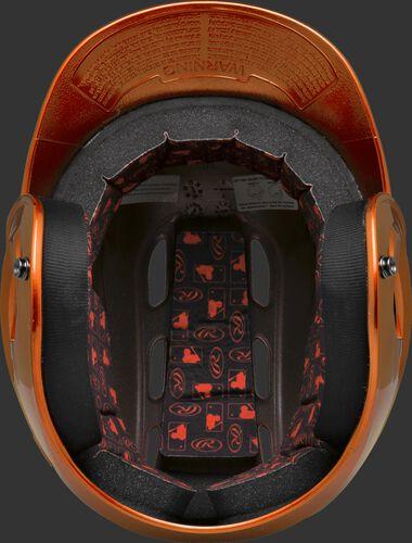 Inside padding of an orange R16S senior size Velo batting helmet