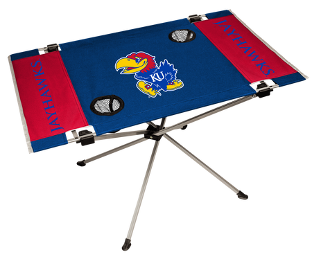NCAA Kansas Jayhawks Endzone table in team colors with a team logo in the middle and two cup holders