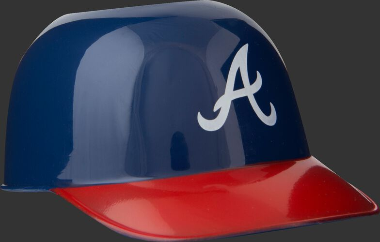 Front of Rawlings Navy and Red MLB Atlanta Braves Snack Size Helmets With Team Logo SKU #01950005121