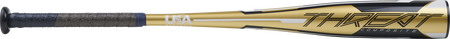 Barrel of a gold USZT12 2020 -12 Threat USA bat with navy/white accents