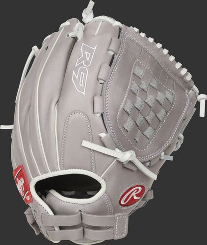 Gray back of a R9 Series 12-inch Basket web glove with a Pull-Strap back - SKU: R9SB120-3G