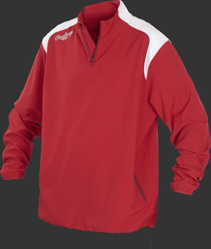 Front of Rawlings Scarlet Youth Long Sleeve Quarter-Zip Jacket - SKU #YFORCEJ-B-89
