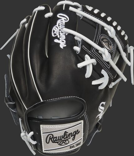 Black back of a Chicago White Sox I-web Heart of the Hide glove with a gray Rawlings patch - SKU: RSGPRO204-2CHW