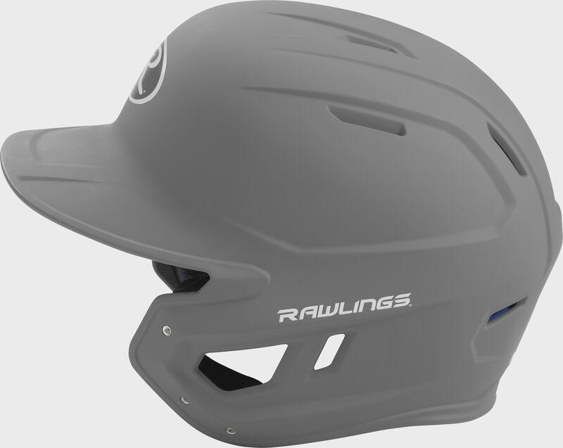 MACH Rawlings batting helmet with a one-tone matte silver shell