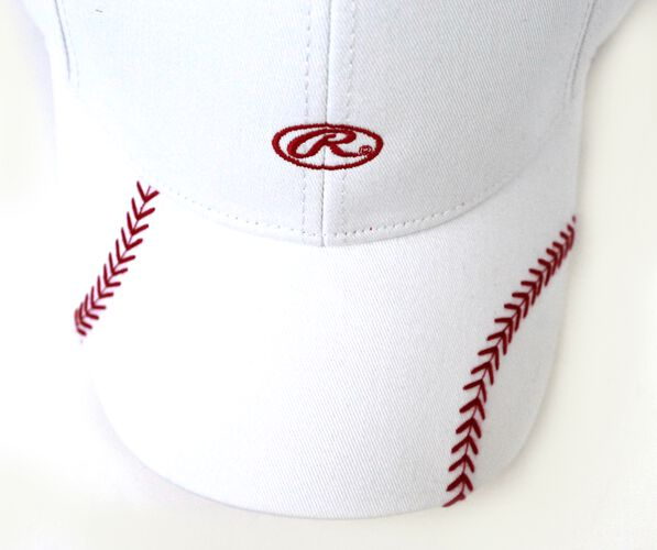 Top of Rawlings Women's Change Up White Baseball Stitch Oval-R Logo Hat - SKU #RC40000-100