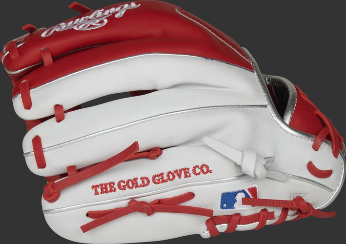 White finger backs of a Heart of the Hide R2G infield glove with the MLB logo on the pinkie - SKU: PROR204U-2SW