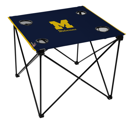 A navy NCAA Michigan Wolverines deluxe tailgate table with four cup holders and team logo printed in the middle