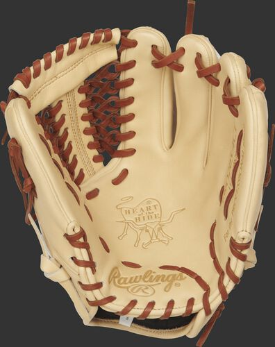 Rawlings PRO205-4CT Heart of the Hide infield/pitcher's glove with a camel palm and tan laces