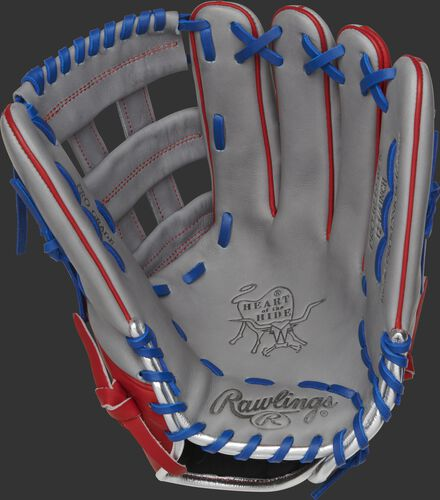 PRO3039-6PR Rawlings Puerto Rico outfield glove with a grey palm, grey web and royal laces