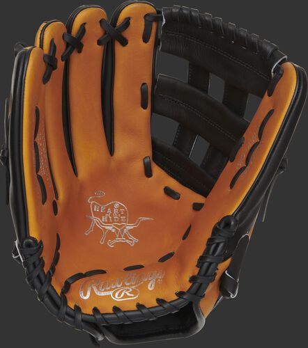 Horween tan palm of a left hand throw HOH H-web outfield glove with gold stamping and black laces - SKU: PRO3039-6HTB
