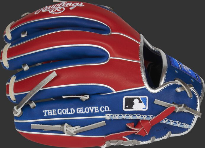 Back of a royal/scarlet exclusive Heart of the Hide R2G infield glove with the MLB logo on the pinky - SKU: RSGPROR314-2RS