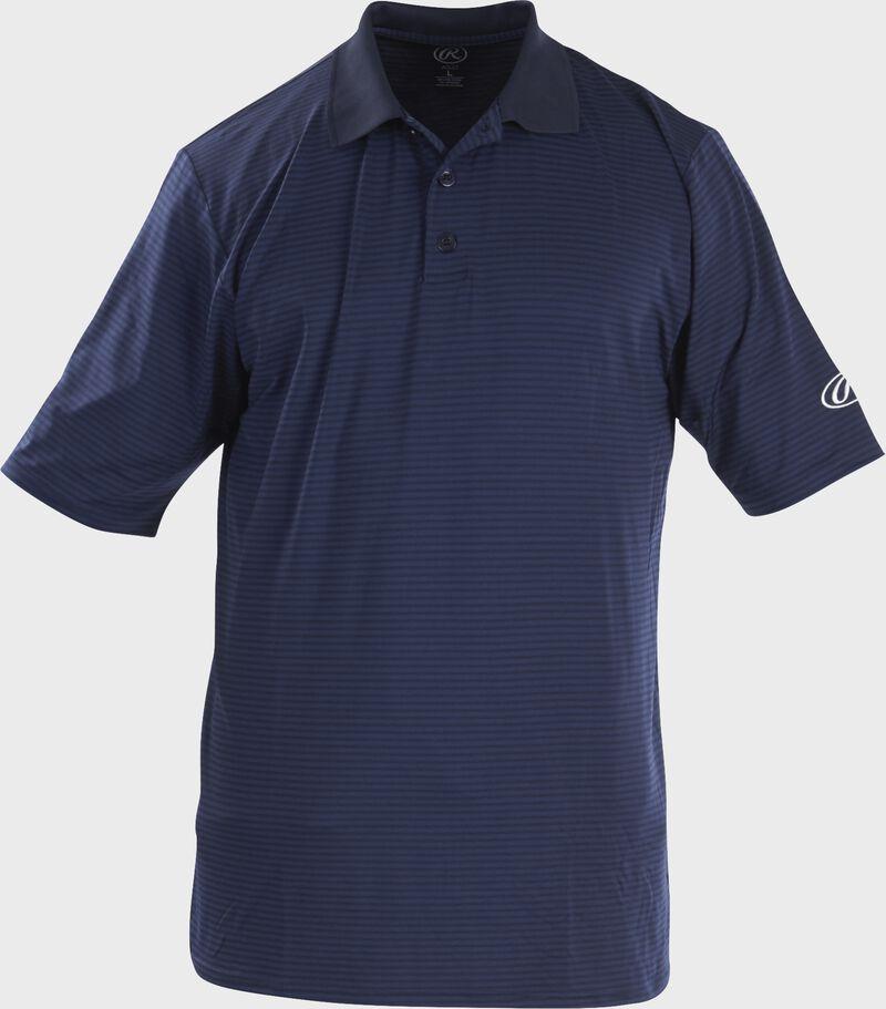 Front of Rawlings Adult Navy Short Sleeve Polo Shirt - SKU #GGPOLO