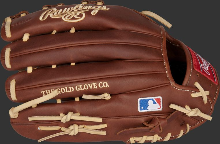 Timberglaze back of a Gameday 57 Series Nick Markakis outfield glove with the MLB logo on the pinky - SKU: PRO435-NM22