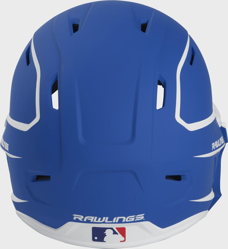 Back of a MACHEXTR high performance junior MACH helmet with a matte royal/white shell and Official Batting Helmet of MLB logo