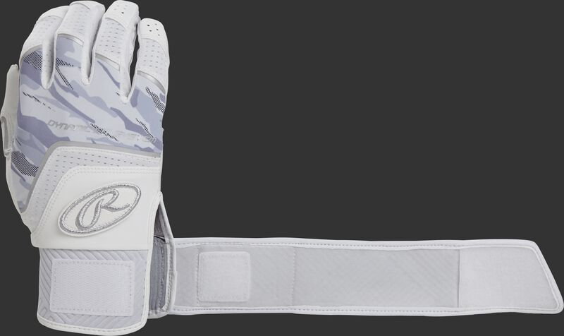 A white WHCSBG Adult Workhorse batting glove with the compression strap an strapped