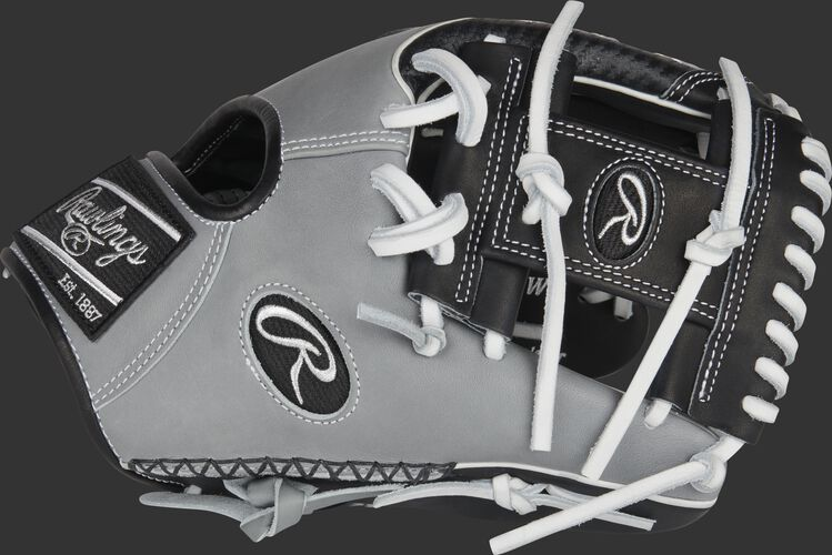 Thumb of a gray/black Heart of the Hide ColorSync 5.0 Hyper Shell infield glove with a black I-web - SKU: PRO205W-2BWG