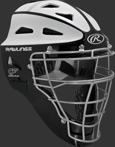 Front right of a black/white SBCHVEL Rawlings adult Velo softball catcher's helmet