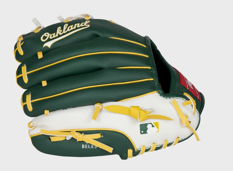 Green/white back of an Oakland Athletics youth glove with the MLB logo on the pinky - SKU: 22000003111