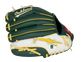 Green/white back of an Oakland Athletics youth glove with the MLB logo on the pinky - SKU: 22000003111 image number null