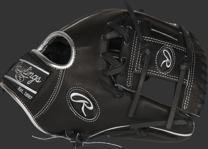 Thumb of a black PRO204-2BPCF Heart of the Hide Hyper Shell 11.5-inch infield glove with a black I-web