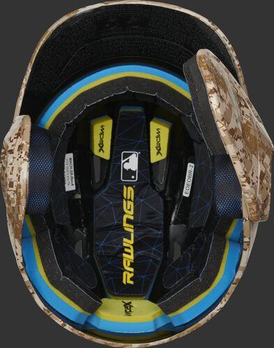 Inside Impax foam padding on a MACHEXTR-DCMO hydro dipped Mach EXT helmet