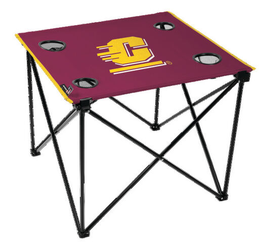 Rawlings Maroon NCAA Central Michigan Chippewas Deluxe Tailgate Table With Four Cup Holders and Team Logo Printed In The Middle  SKU #00714399111