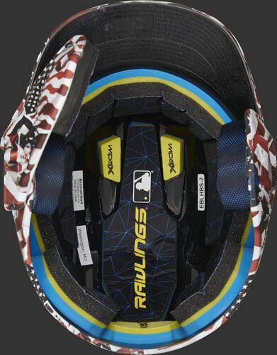 Inside Impax foam padding on a MACHEXTL-USA hydro dipped Mach EXT helmet