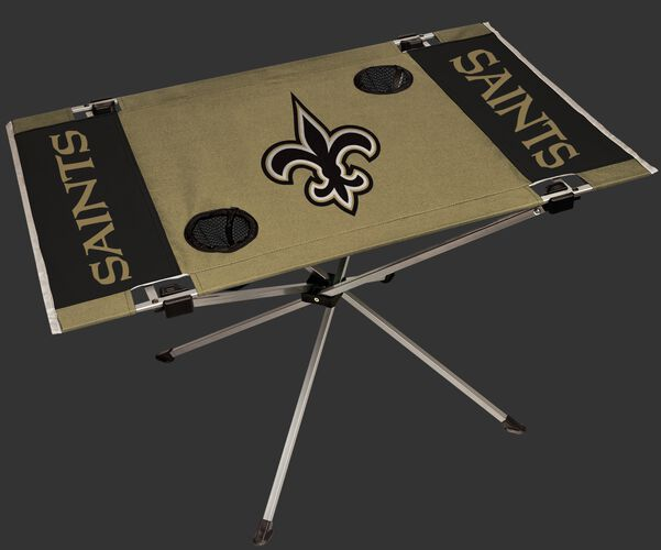 Rawlings Gold and Black NFL New Orleans Saints Endzone Table With Two Cup Holders, Team Logo, and Team Name SKU #03391077111