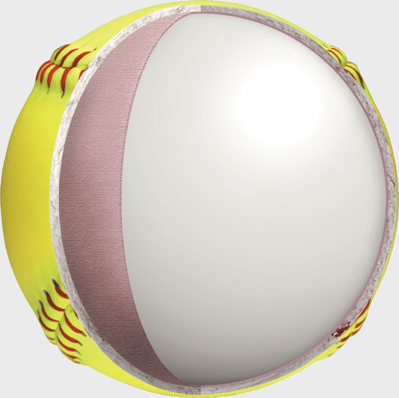 "Center of a USA 11"" Red Dot fastpitch softball - SKU: PX11RYLA"