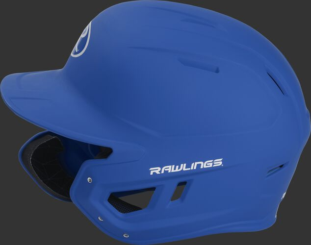 Left side of a MACHEXTL junior Rawlings batting helmet with a one-tone matte royal shell