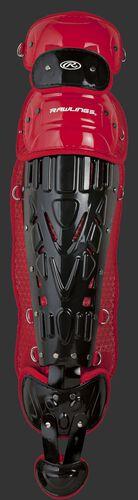 Black/scarlet LVELI Rawlings Velo intermediate leg guard