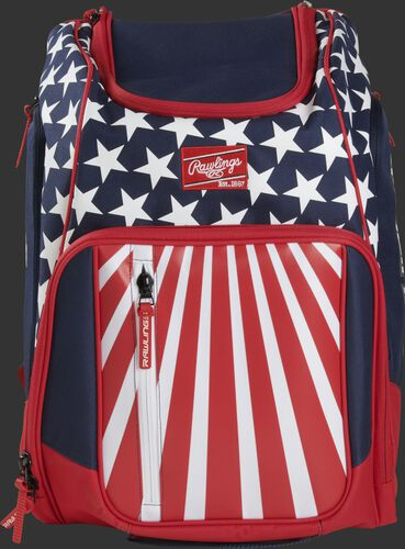 A USA Legion backpack with a Rawlings patch on the front - SKU: LEGION-USA