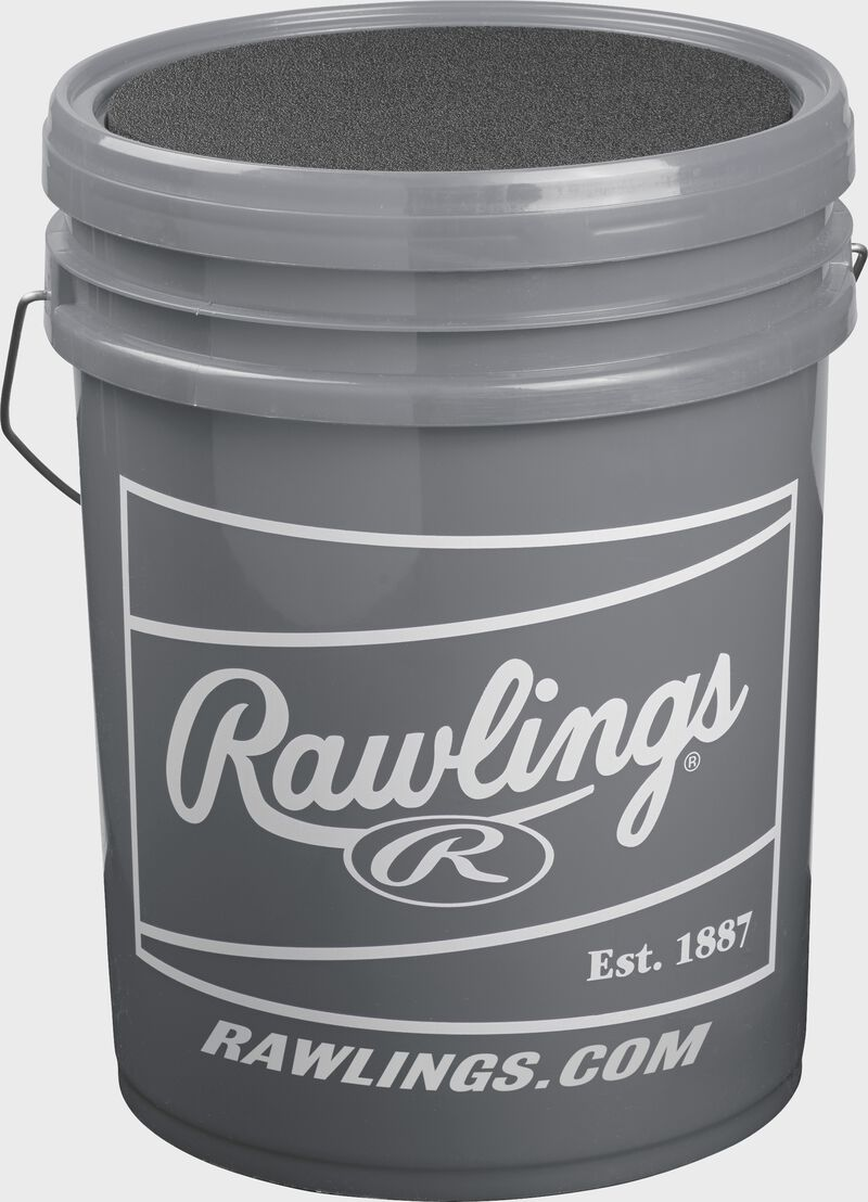 Gray bucket with white Rawlings patch on a R100UP1BUCK24 High School Ultimate Practice ball bucket