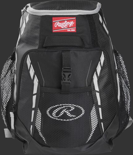 A black R400 youth players team backpack with a gray Oval R logo on the front pocket