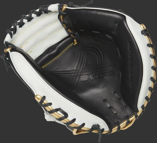 ECCM32-23BW Rawlings Encore youth 32-inch catcher's mitt with a black palm and black laces