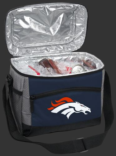 An open Denver Broncos 12 can cooler filled with ice and drinks - SKU: 10111066111