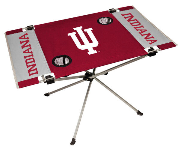 Rawlings Crimson and Grey NCAA Indiana Hoosiers Endzone Table With Two Cup Holders, Team Logo, and Team Name SKU #04053030111