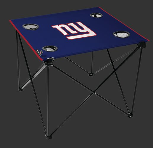 Rawlings Blue NFL New York Giants Deluxe Tailgate Table With Four Cup Holders and Team Logo Printed In The Middle SKU #00701078111