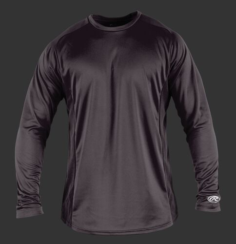 Front of Rawlings Gray Adult Long Sleeve Shirt - SKU #LSBASE