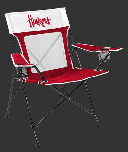 Front of Rawlings Red and White NCAA Nebraska Cornhuskers Game Changer Chair With Team Logo SKU #00643089111