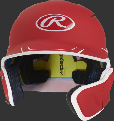 Front of a matte scarlet/white MACHEXTR senior size Mach batting helmet with face guard extension for right hand batters