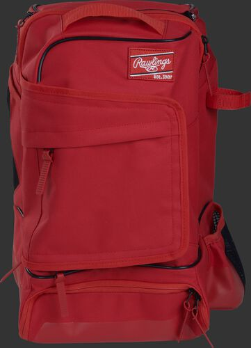 Front of a scarlet R701 Rawlings training backpack with a locker style front pocket