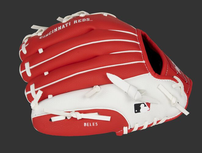 Back of a red/white Cincinnati Reds 10-Inch youth glove with the MLB logo on the pinky - SKU: 22000023111